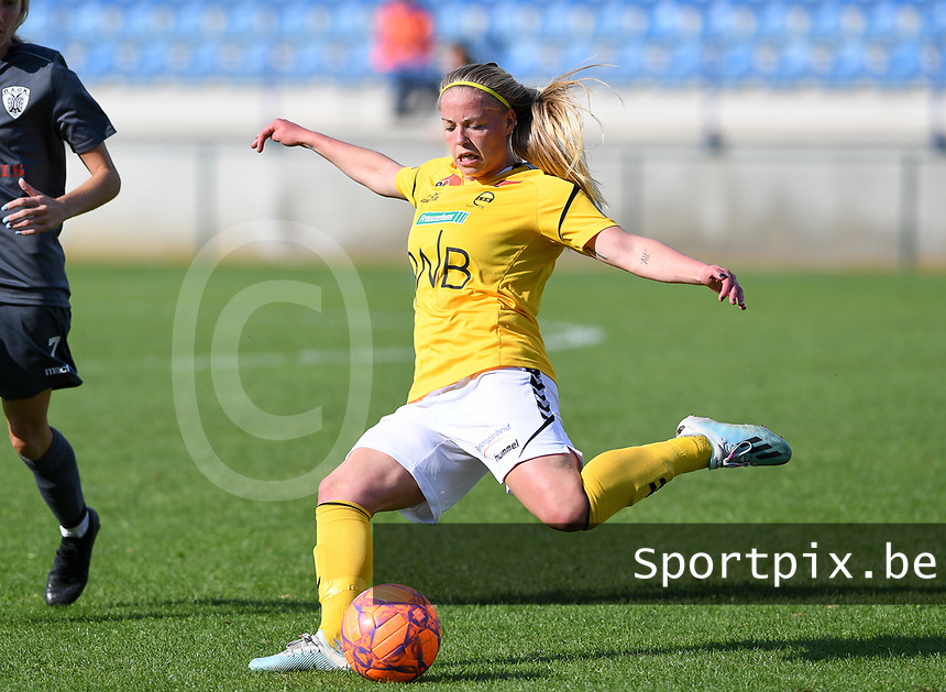 20190813 - DENDERLEEUW, BELGIUM : LSK's Therese Asland pictured during the female soccer game between the Greek PAOK Thessaloniki Ladies FC and the Norwegian LSK Kvinner Fotballklubb Ladies , the third and final game for both teams in the Uefa Womens Champions League Qualifying round in group 8 , Tuesday 13 th August 2019 at the Van Roy Stadium in Denderleeuw  , Belgium  .  PHOTO SPORTPIX.BE for NTB   DAVID CATRY