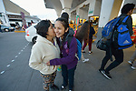 Patricia Esquivel kisses her daughter, Yarely Arellano, at the U.S. border crossing in the Mexican city of Juarez. Arellano crosses from here into El Paso, Texas, to study at the Lydia Paterson Institute, a United Methodist sponsored high school. Arellano makes the journey every school day, and most days her mother accompanies her to the border for safety. Arellano was born in the United States, and is thus a U.S. citizen, but her mother, a Mexican national, was later deported and is not allowed to reenter the U.S.