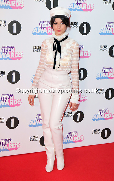 EXCLUSIVE ALL ROUND PICTURE: MATRIXPICTURES.CO.UK<br /> PLEASE CREDIT ALL USES<br /> <br /> WORLD RIGHTS<br /> <br /> Cuban singer-songwriter Camila Cabello attends the BBC Radio 1 Teen Awards 2017 at Wembley Arena in London.<br /> <br /> OCTOBER 22nd 2017<br /> <br /> REF: MES 172472