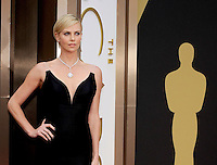 HOLLYWOOD, CA - MARCH 2: Charlize Theron arriving to the 2014 Oscars at the Hollywood and Highland Center in Hollywood, California. March 2, 2014. Credit: SP1/Starlitepics. /NORTePHOTO