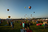 READINGTON, NJ - JULY 27: People enjoy the show during the QuickCheck New Jersey Festival of Ballooning on July 27, 2019 in Readington, NJ. More than 100 hot air balloons are taking part in the show where at least 165.000 are expected to attend.  (Photo by Eduardo MunozAlvarezVIEWpress)