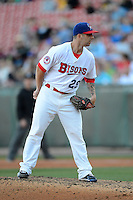 Buffalo Bisons pitcher Bobby Korecky (29) during a game against the Pawtucket Red Sox on August 4, 2013 at Coca-Cola Field in Buffalo, New York.  Pawtucket defeated Buffalo 8-1.  (Mike Janes/Four Seam Images)