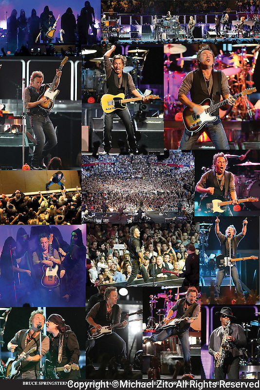 Bruce Springsteen and the E Street Band 20 x 30 Art Collage Poster of 10/30/07 concert at the Los Angeles Sports Arena.