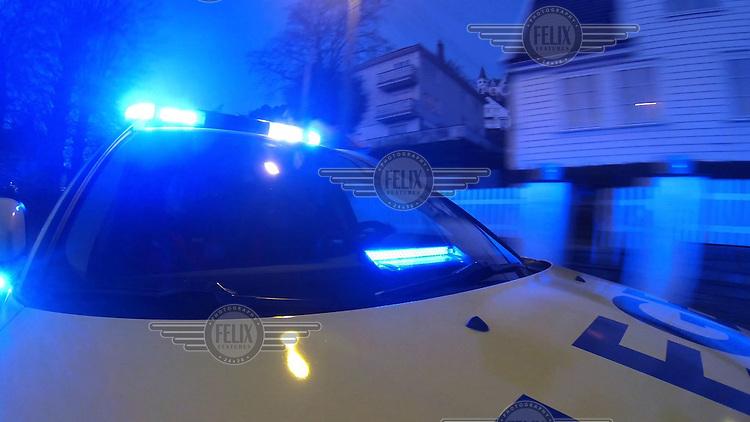 Legebil med bl&aring;lys. Bilde tatt ifm reportasje om Basen i Bergen. <br /> <br /> Magasin 1/2013