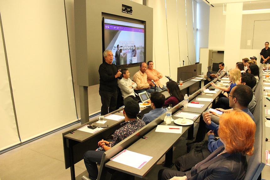 Michael Jay Solomon '60, Jules Haimovitz, Nicolas Chartier, and Jonathan Cody speak about content distribution in the Vin Di Bona Distance Learning Room at Emerson Los Angeles on April 20.