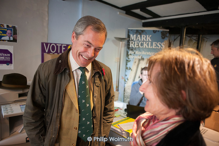 Inside the Rochester UKIP HQ.  UKIP leader Nigel Farage and ex-Tory MP Mark Reckless,the UKIP candidate, campaign in Rochester before the Rochester and Strood by-election.