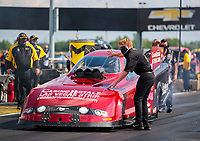 Jul 18, 2020; Clermont, Indiana, USA; Bobby Bode guides father NHRA funny car driver Bob Bode to the starting line during qualifying for the Summernationals at Lucas Oil Raceway. Mandatory Credit: Mark J. Rebilas-USA TODAY Sports