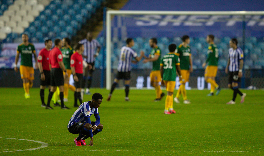 Sheffield Wednesday's Moses Odubajo reacts after the match<br /> <br /> Photographer Alex Dodd/CameraSport<br /> <br /> The EFL Sky Bet Championship - Sheffield Wednesday v Preston North End - Wednesday 8th July 2020 - Hillsborough - Sheffield<br /> <br /> World Copyright © 2020 CameraSport. All rights reserved. 43 Linden Ave. Countesthorpe. Leicester. England. LE8 5PG - Tel: +44 (0) 116 277 4147 - admin@camerasport.com - www.camerasport.com