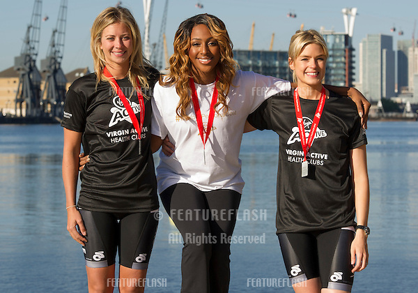 Holly Branson, Alexandra Burke and Isabella Calthorpe at the The Virgin Triathlon 2012, Excel Arena,  Docklands, London. 22/09/2012 Picture by: Simon Burchell / Featureflash.