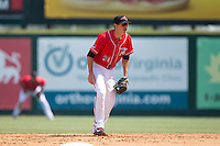 Richmond Flying Squirrels second baseman Blake Miller (21) on defense against the Bowie Baysox at The Diamond on May 24, 2015 in Richmond, Virginia.  The Flying Squirrels defeated the Baysox 5-2.  (Brian Westerholt/Four Seam Images)