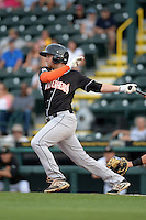 Jupiter Hammerheads outfielder Austin Dean (3) at bat during a game against the Bradenton Marauders on April 18, 2015 at McKechnie Field in Bradenton, Florida.  Bradenton defeated Jupiter 4-1.  (Mike Janes/Four Seam Images)
