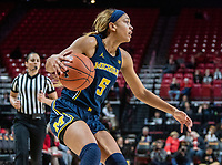 COLLEGE PARK, MD - DECEMBER 28: Kayla Robbins #5 of Michigan controls the ball. during a game between University of Michigan and University of Maryland at Xfinity Center on December 28, 2019 in College Park, Maryland.