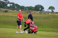 Pat Murray (Limerick) and his local caddy Michael McCabe (hold it in Mike) on the 2nd during Round 4 of the East of Ireland Amateur Open Championship sponsored by City North Hotel at Co. Louth Golf club in Baltray on Monday 6th June 2016.<br /> Photo by: Golffile   Thos Caffrey