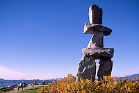"The Inukshuk at English Bay, in the West End of Vancouver, British Columbia, Canada, In Autumn / Fall.  Artist ""Alvin Kanak""."
