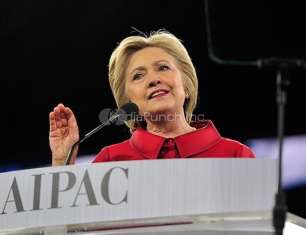 Former United States Secretary of State Hillary Rodham Clinton, a candidate for the Democratic Party nomination for President of the United States, speaks at the 2016 AIPAC Policy Conference at the Verizon Center in Washington, DC on Monday March 21, 2016.<br /> Credit: Ron Sachs / CNP/MediaPunch