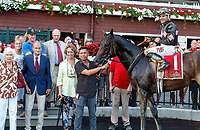 Realm (no. 1) wins the Alydar Stakes, Aug. 5, 2018 at the Saratoga Race Course, Saratoga Springs, NY.  Ridden by Junior Alvarado and trained by Barclay Tagg,  Realm finished a head in front of Kurilov (no. 4).  (Photo credit: Bruce Dudek/Eclipse Sportswire)