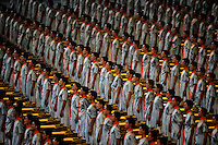Aug. 8, 2008; Beijing, CHINA; Chinese performers stand at attention during the opening ceremonies for the 2008 Beijing Olympic Games at the National Stadium. Mandatory Credit: Mark J. Rebilas-