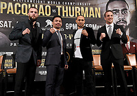 BEVERLY HILLS - MAY 22: (L-R) Caleb Plant, Manny Pacquiao, Keith Thurman, and Mike Lee attend a press conference in Beverly Hills for the Premier Boxing Champions on FOX Sports Pay-Per-View fight on July 20 in Las Vegas. (Photo by Frank Micelotta/Fox Sports/PictureGroup)