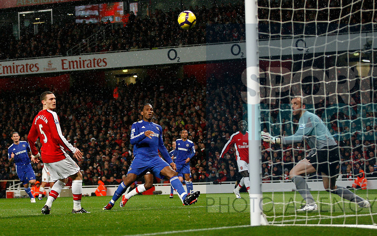 Chelsea's Didier Drogba scoring his sides first goal