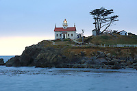 The Battery Point Lighthouse sits outside the Crescent City harbor along the Northern california coast. On December 10, 1856 the lighthouses original fourth order Fresnal lens first illuminated the night sky an remained active until the lighthouse was automated in 1953 and its original lens replaced by a modern 375 mm lens. Access to the onsite museum and lighthouse is accessible only at low tide across an exposed land bridge. Photographed 07/08