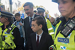 Jacob Rees-Mogg MP and son Peter Rees Mogg needs police protection when he leaves the House of Commons after the Brexit debate on Super Saturday  19th October 2019 Threatening abusive language shouted at MPs.