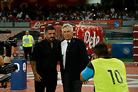 Carlo Ancelotti Gennaro Gattuso   during the  italian serie a soccer match,  SSC Napoli - Milan      at  the San  Paolo   stadium in Naples  Italy , August 25, 2018