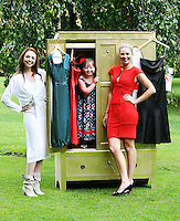 23/8/2010. launch Buy My Dress Online.TV3 presenter Anna Daly, model Kate Sheridan and Clara Lewis (Age 7), from Dalkey (who has Down syndrome) are pictured in St Stephens Green to launch Buy My Dress Online - Ireland's first online second-hand dress shop which will sell a range of lightly-used women's and children's dresses which have been donated to the charity by the Irish public. www.buymydressonline.ie. Picture James Horan/Collins Photos