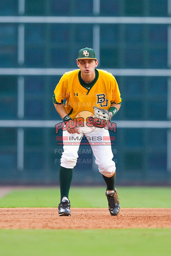 Third baseman Jake Miller #20 of the Baylor Bears on defense against the Rice Owls at Minute Maid Park on March 6, 2011 in Houston, Texas.  Photo by Brian Westerholt / Four Seam Images