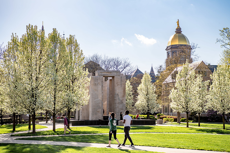May 4, 2018; Clarke Memorial Fountain, commonly known as Stonehenge, spring 2018 (Photo by Matt Cashore/University of Notre Dame)
