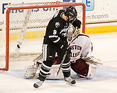 Damian Cross (PC - 9), Parker Milner (BC - 35) - The Boston College Eagles defeated the Providence College Friars 7-0 on Saturday, February 25, 2012, at Kelley Rink at Conte Forum in Chestnut Hill, Massachusetts.