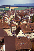 AJ2149, Jura, Switzerland, Europe, Scenic aerial view of the village of Porrentruy from the castle in the canton of Jura.