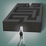 Illustration of businessman coming out of a maze