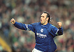 Mark Hateley celebrates scoring against Celtic in the league at their temporary home of Hampden Park, 30th October 1994