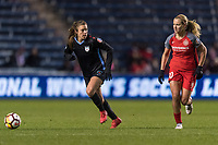 Bridgeview, IL - Saturday March 31, 2018: Sofia Huerta, Lindsey Horan during a regular season National Women's Soccer League (NWSL) match between the Chicago Red Stars and the Portland Thorns FC at Toyota Park.