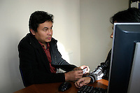 """Khin Mauang Win, Deputy Chief Editor of Democratic Voice of Burma, with video journalist """"Joshua"""" - the main character of the Oscar nominated documentary Burma VJ. """"Joshua"""" had to flee Burma after exposing the brutal crack down on peaceful monks demonstrating in Burma in 2007. Oslo, October 2009."""