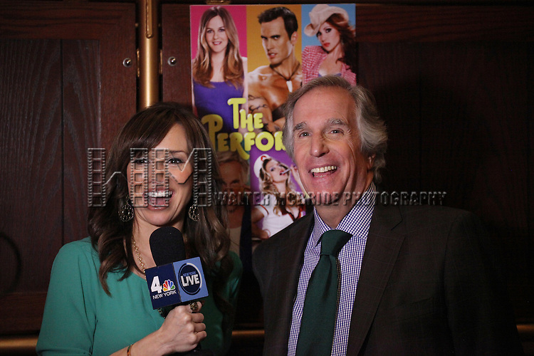 """Journalist Sara Gore and actor Henry Winkler attends press event to introduce the cast and creators of the new Broadway play """"The Performers""""at the Hard Rock Cafe on Tuesday, Sept. 25, 2012 in New York. (Photo by © Walter McBride/WM Photography//AP)"""