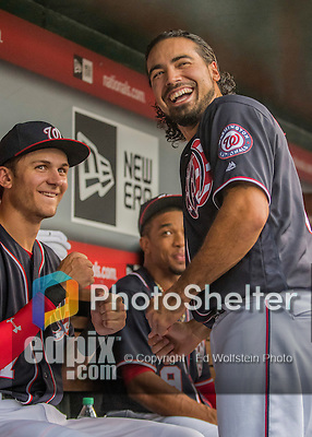 22 July 2016: Washington Nationals third baseman Anthony Rendon (right) chats with Trea Turner prior to a game against the San Diego Padres at Nationals Park in Washington, DC. The Padres defeated the Nationals 5-3 to take the first game of their 3-game, weekend series. Mandatory Credit: Ed Wolfstein Photo *** RAW (NEF) Image File Available ***