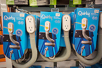 Quirky electrical products are seen on display in a store in New York on Tuesday, July 28, 2015.  Quirky, the smart device company, will lay off 109 employees in its New York office and two employees from its Schnectady office.  The company, started in 2009, has raised $185 million and is attempted to raise more financing. Backers include General Electric which produces a Quirky air conditioner. (© Richard B. Levine)