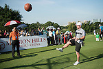 Paul Scholes kicks a basketball at the 17th hole during the World Celebrity Pro-Am 2016 Mission Hills China Golf Tournament on 22 October 2016, in Haikou, China. Photo by Weixiang Lim / Power Sport Images