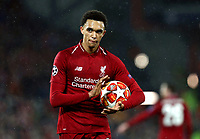 Liverpool's Trent Alexander-Arnold prepares to take a corner kick<br /> <br /> Photographer Rich Linley/CameraSport<br /> <br /> UEFA Champions League Round of 16 First Leg - Liverpool and Bayern Munich - Tuesday 19th February 2019 - Anfield - Liverpool<br />  <br /> World Copyright © 2018 CameraSport. All rights reserved. 43 Linden Ave. Countesthorpe. Leicester. England. LE8 5PG - Tel: +44 (0) 116 277 4147 - admin@camerasport.com - www.camerasport.com
