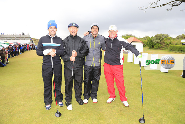 Sergio Garcia (ESP) with Michale McGinley Jnr, Dickie Pyne and Barry Reddon on the 1st tee during the Pro-Am of the 2015 Dubai Duty Free Irish Open, Royal County Down Golf Club, Newcastle Co Down, Northern Ireland. 27/05/2015 <br /> Picture Eoin Clarke, www.golffile.ie