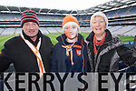 Aeneas Guiney, Deirdre Guiney, Helen Guiney Brosna supporters at the Junior Football All Ireland Club Final in Croke Park on Saturday.