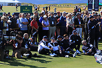 Some of the GB&I at the 18th green during Day 2 Foursomes of the Walker Cup, Royal Liverpool Golf CLub, Hoylake, Cheshire, England. 08/09/2019.<br /> Picture Thos Caffrey / Golffile.ie<br /> <br /> All photo usage must carry mandatory copyright credit (© Golffile | Thos Caffrey)