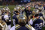 29 April 2016: Notre Dame assistant coach Gerry Byrne talks to his players. The University of Notre Dame Fighting Irish played the Duke University Blue Devils at Fifth Third Bank Stadium in Kennesaw, Georgia in a 2016 Atlantic Coast Conference Men's Lacrosse Tournament semifinal match. Duke won the game 10-9 in overtime.