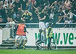 Solna 2014-08-13 Fotboll Allsvenskan AIK - Djurg&aring;rdens IF :  <br /> AIK:s Nabil Bahoui  har gjort 1-0 och jublar med publik och lagkamrater<br /> (Foto: Kenta J&ouml;nsson) Nyckelord:  AIK Gnaget Friends Arena Allsvenskan Derby Djurg&aring;rden DIF jubel gl&auml;dje lycka glad happy supporter fans publik supporters