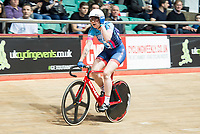 Picture by Allan McKenzie/SWpix.com - 06/01/2018 - Track Cycling - Revolution Champion Series 2017 - Round 3 - National Cycling Centre, Manchester, England - Team Jaden Weldtite's Katie Archibald reacts to coming first in qualification during the Women's Elite Championship Madison Time Trial.