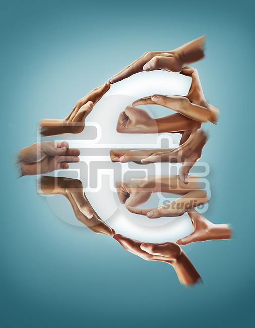 Illustrative image of hands forming euro sign over blue background