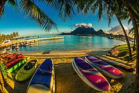 Kayaks, Four Seasons Resort Bora Bora, Motu Tehotu, Bora Bora, French Polynesia.