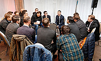 Ryan Giggs (C) speaks to members of the press during the Wales Unveiling  Of The New Manager at Hensol Castle, Vale of Glamorgan, Wales, UK. Monday 15 January 2018