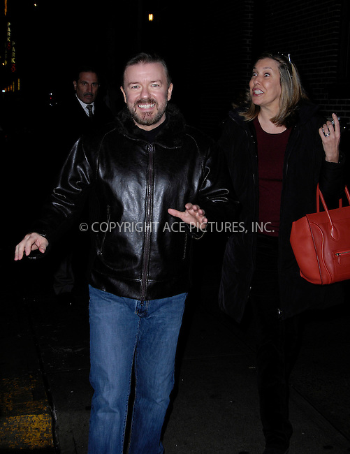 WWW.ACEPIXS.COM . . . . .  ....January 17 2012, New York City....Ricky Gervais and Jane Fallon arriving at the 'Late Show with David Letterman' on January 17, 2012 in New York City.....Please byline: CURTIS MEANS - ACE PICTURES.... *** ***..Ace Pictures, Inc:  ..Philip Vaughan (212) 243-8787 or (646) 679 0430..e-mail: info@acepixs.com..web: http://www.acepixs.com